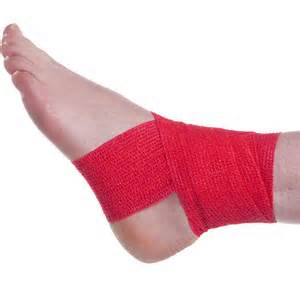 Ankle Wrapped in Red Tape Pic